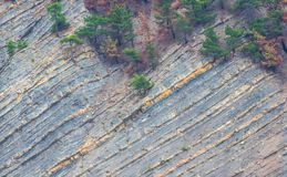 The texture of the geological layers of the earth. The texture of the geological layers of rock sediments stock photography
