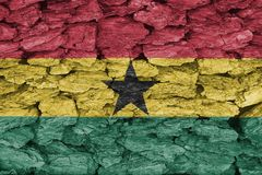 Texture of Ghana flag. Texture of the Flag of Ghanaon a decorative tree bark Stock Photography