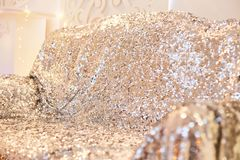 Texture glitter sequins silver sofa. Beautiful rich interior. silver sofa royalty free stock photography