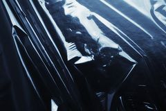Texture glossy black cellophane Royalty Free Stock Photo