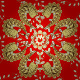 Texture gold thread on a red background Royalty Free Stock Images