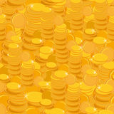 Texture with golden coins seamless pattern. Vector Royalty Free Stock Image