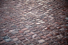 Texture of granite cobblestone road Royalty Free Stock Images
