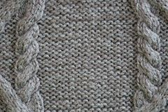 Close up texture of cable knit yarn. gray wool with a aran royalty free stock photography