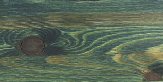 Texture of green painted wood. With natural knots and lines of annual Royalty Free Stock Photos