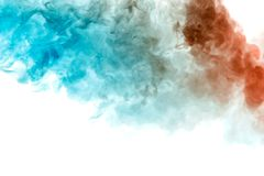 The texture of grey smoke is like a watercolor on a white background with transitions of matter between blue and red like a royalty free illustration