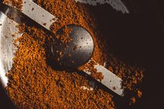 Texture of the ground coffee in grinder stock photography
