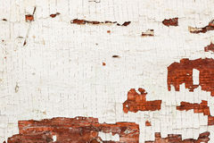 Texture of grunge old wooden brown textured background with peeling paint white color. Vintage backdrop for various Stock Images