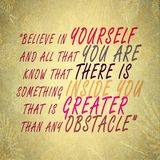 Believe in Yourself - Succeed overcome obstacles - self confidence. The words Believe in Yourself To overcome an obstacle - symbolizing self confidence. To royalty free stock photography