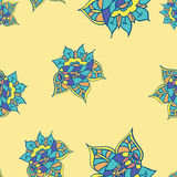 Texture with hand drawn abstract doodle. Yellow background. Royalty Free Stock Images