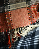 Texture of a hand made warm woolen striped scarf Stock Image