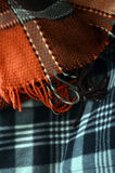 Texture of a hand made warm woolen striped scarf Stock Photo