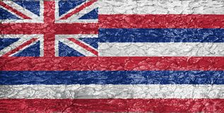 Texture of Hawaii flag. On the wall of relief rough plaster royalty free stock photography