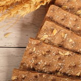 Texture of healthy wheat crackers Stock Image
