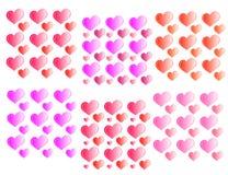 Texture heart set on a white background seamless Royalty Free Stock Photos