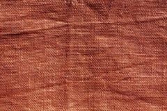 Texture hessoise rouge de tissu de sac Photos libres de droits