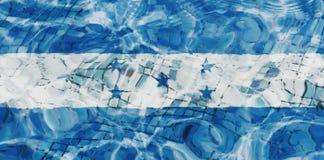 Texture of Honduras flag. Texture of Honduras flag in the pool, water. Splashes stock photos