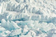 Texture of ice of Baikal lake in Siberia Royalty Free Stock Photo