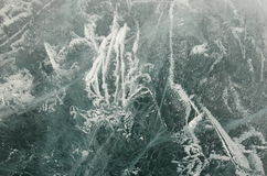 Texture of ice of Baikal in winter. A variety of ice cover of lake Baikal is represented by an abstract image is always unique in its beauty Stock Photography