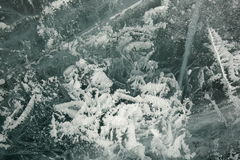Texture of ice of Baikal in winter Royalty Free Stock Photo