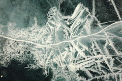 Texture of ice of Baikal in winter. A variety of ice cover of lake Baikal is represented by an abstract image is always unique in its beauty Royalty Free Stock Photos