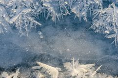 Texture of ice on blue background royalty free stock photos