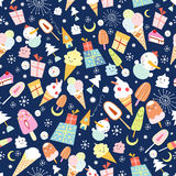 Texture of ice cream and jolly snowmen. Seamless pattern of ice cream snowmen and presents a dark blue background Royalty Free Stock Images