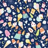 Texture of ice cream and jolly snowmen vector illustration