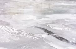 Texture of ice on a frozen river. Lovely nature background in winter Stock Image