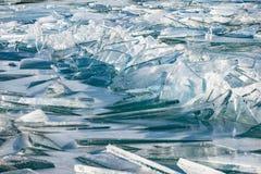 Texture of ice surface, cracked ice floating. On Lake Balaton, Hungary. January/06/2017 Extreme weather in Hungary stock images