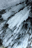 Texture of icicles. Lake Baikal, Russia Royalty Free Stock Photo