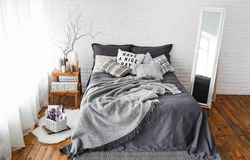 Texture intérieure de fond de textile de décor de chambre à coucher rustique images stock