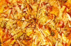 Texture - Italian delicious, fresh baked pizza with meat and veg Royalty Free Stock Photography