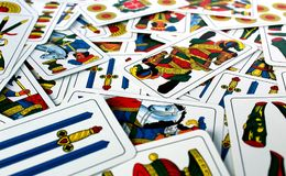 Texture of italian venetian playing cards Stock Photo