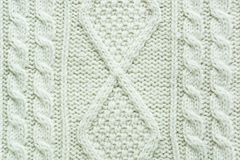 Texture of knitted handmade. Christmas white sweater close up. Wallpaper or abstract background. Top view Royalty Free Stock Photography