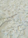 Texture lace. White sparkly lace with embroidery closeup. Beautiful unusual background royalty free stock photo