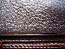 The texture of leather. Brown leather Stock Image
