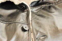 Texture - the Leather natural sheepskin coat Stock Image