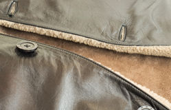 Texture - the Leather natural sheepskin coat Stock Photos