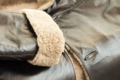 Texture - the Leather natural sheepskin coat Royalty Free Stock Image
