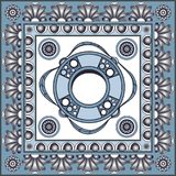 Graphic illustration with ceramic tiles 13. Texture with lifeline. Sailor background. Ceramic tile with Spanish, Portuguese Azulejo or Russian Gzhel pattern Royalty Free Stock Photo