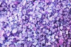 Texture of lilac sea salt, closeup stock photo