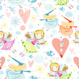 Texture with little fairies. Seamless pattern with bright cheerful fairies on a white background with clouds, hearts and snowflakes Royalty Free Stock Photos