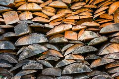 The texture of the logs in the woodpile. Is close royalty free stock image