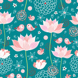 The texture of lotus flowers and birds Royalty Free Stock Image