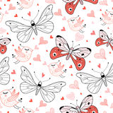 Texture love butterflies and birds Stock Photo