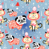Texture in love cats and pugs winter Stock Images