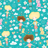 Texture of love girls. Seamless pattern of love girls and cats in the flower bright background Royalty Free Stock Images