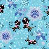 Texture love kittens. Seamless floral pattern with lovers kittens on a bright blue background Royalty Free Stock Image