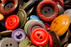 Texture of many colorful buttons. Texture of many colorful clothing buttons closeup Stock Images